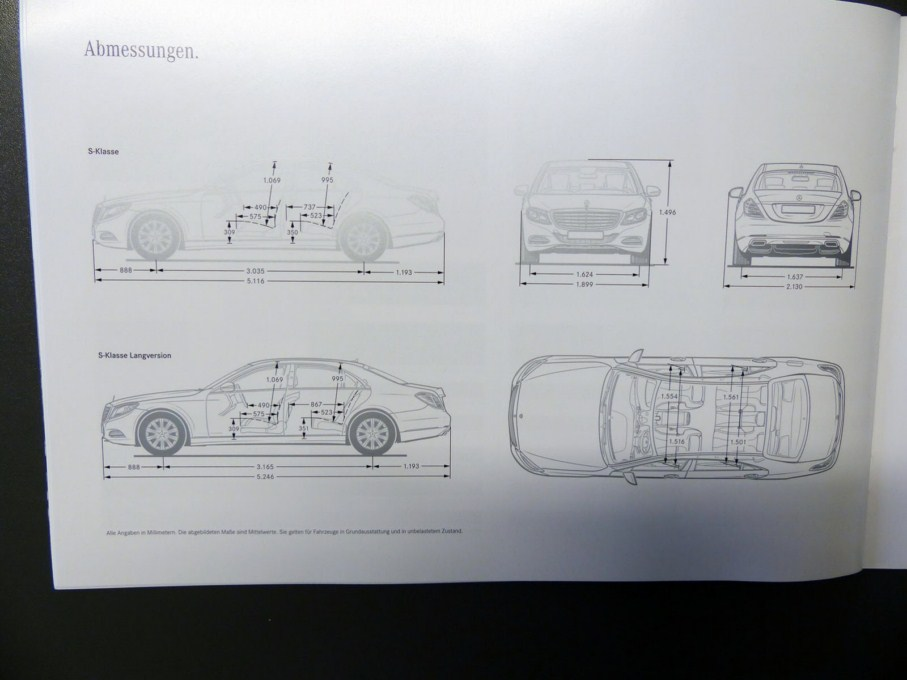 2014 Mercedes-Benz S-Class Brochure Dimensions