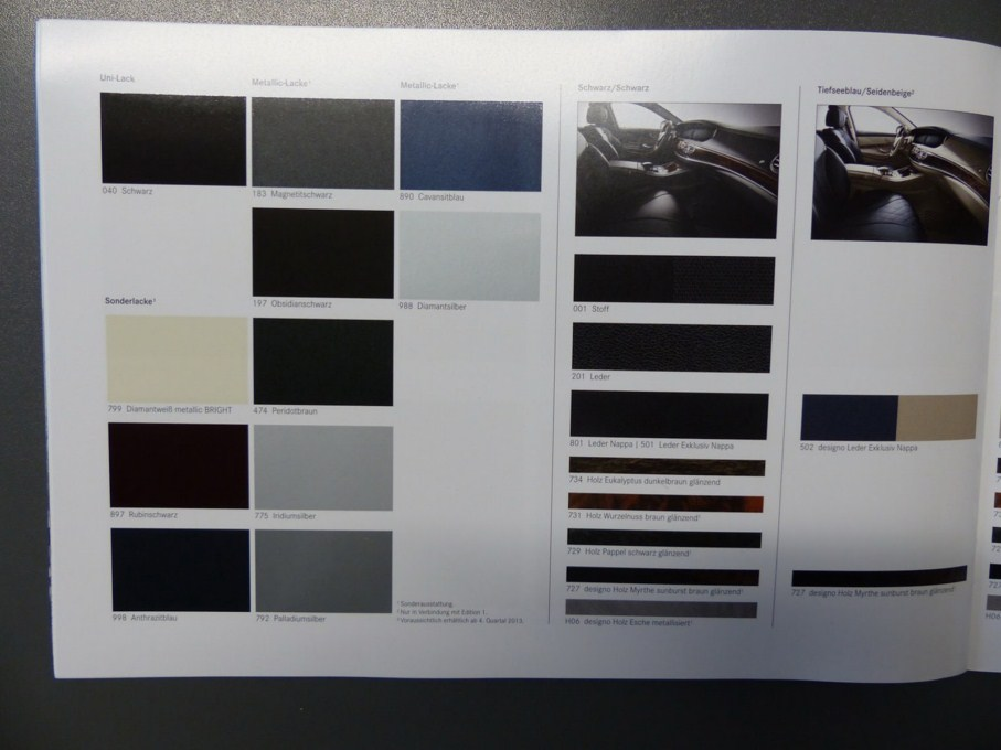2014 Mercedes-Benz S-Class Brochure Interior Colour Palette