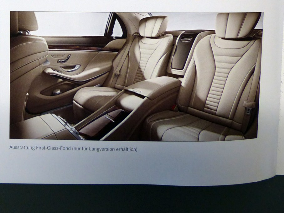 2014 Mercedes-Benz S-Class Brochure Rear Interiors