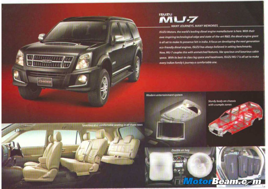 Isuzu MU-7 India Brochure
