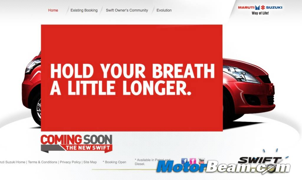 New Maruti Swift Website