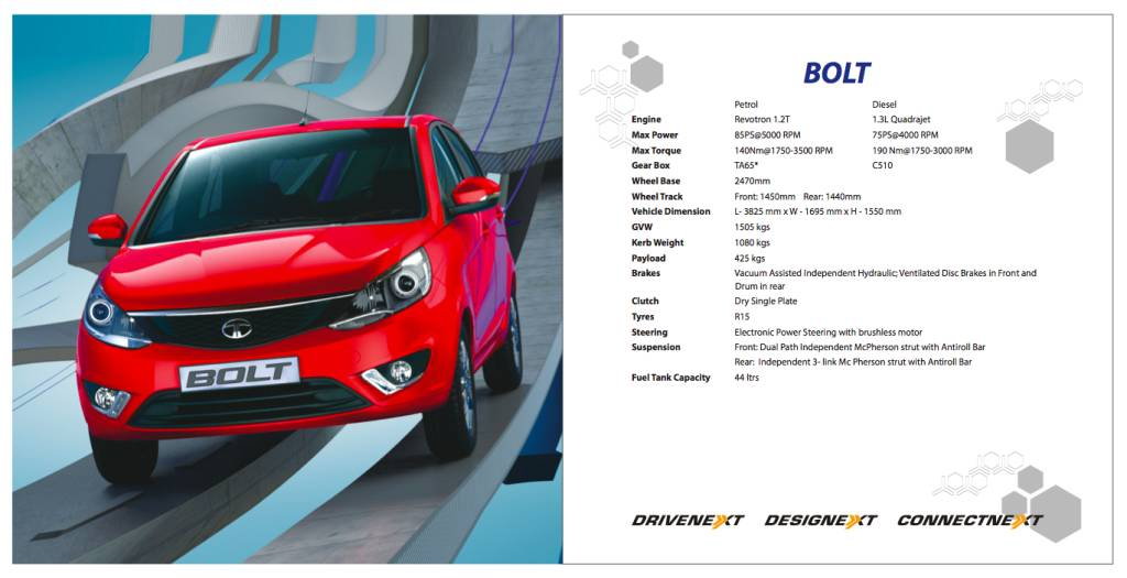 Tata Bolt Specifications Sheet