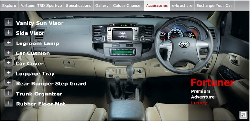 Toyota Fortuner Luxury Accessories